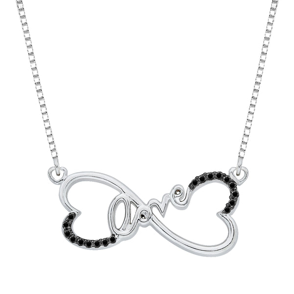 "Double Heart ""Love"" Black Diamond Pendant with Chain in Sterling Silver (1/10 cttw)"