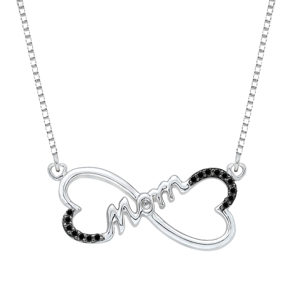 "Double Heart ""MOM"" Black Diamond Pendant with Chain in Sterling Silver (1/10 cttw)"