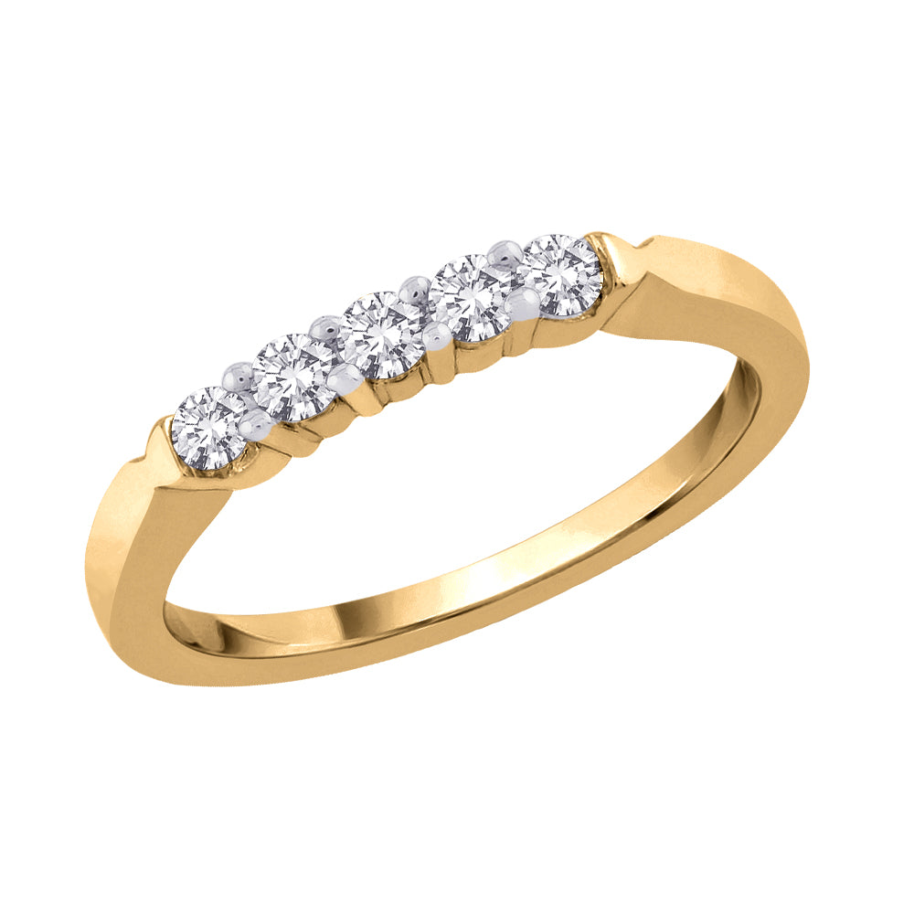 5-Stone Diamond Anniversary Band in 14K Yellow Gold (1/4 cttw)