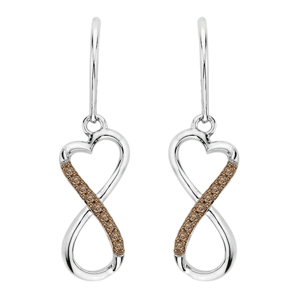 Brown Diamond Infinity Dangle Heart Earrings in Sterling Silver (1/20 cttw)