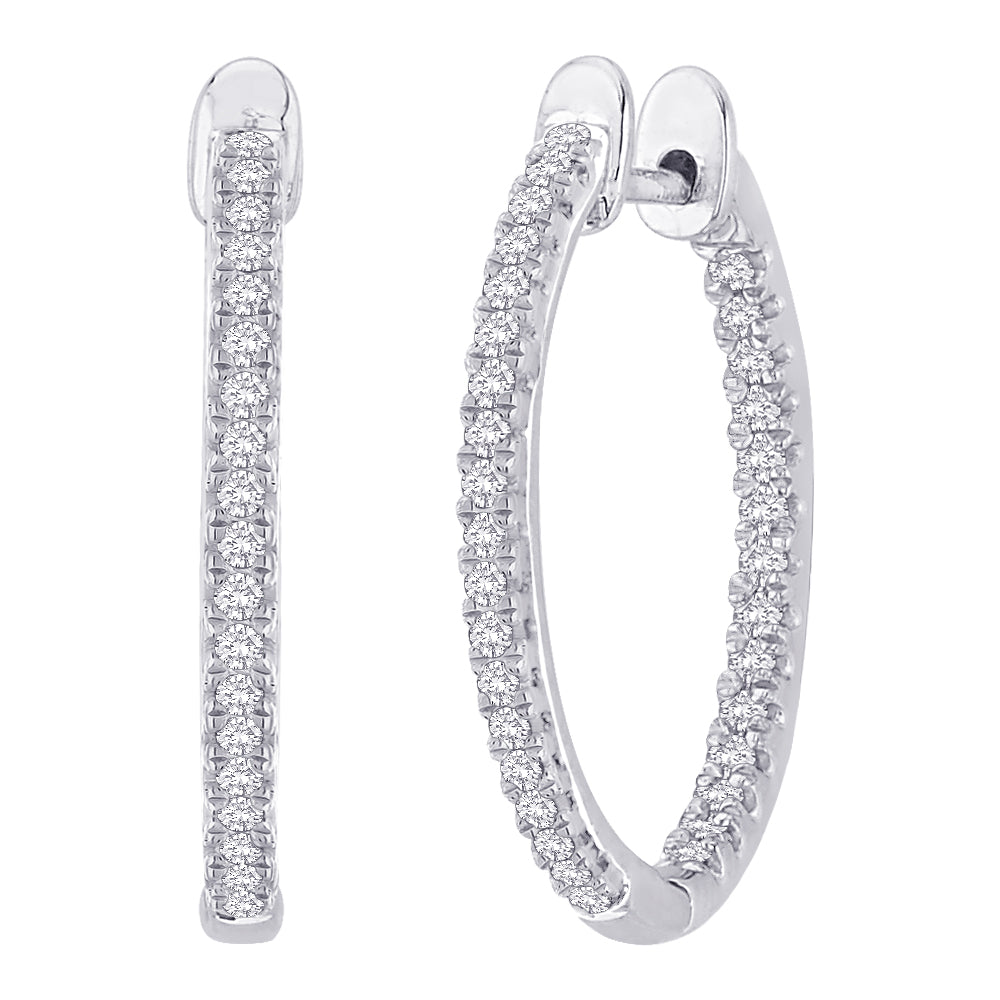 "Diamond ""In and Out"" Hoop Earrings in 10K White Gold ( 1/3 cttw)"