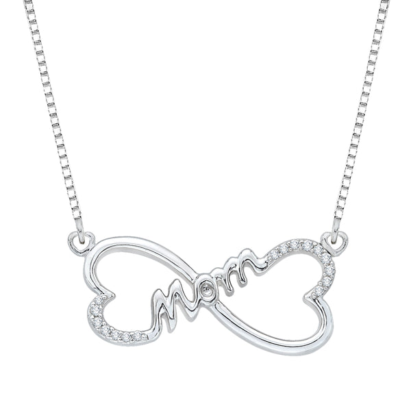 "Double Heart ""MOM"" Diamond Pendant with Chain in Sterling Silver (1/10 cttw)"