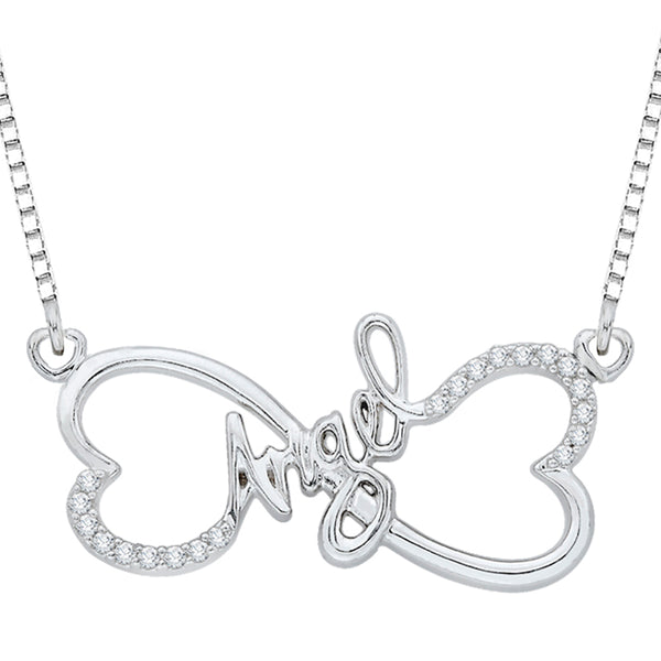"Double Heart ""Angel"" Diamond Pendant with Chain in Sterling Silver (1/10 cttw)"