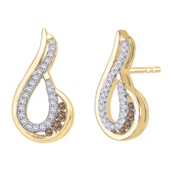 Brown and White Diamond Fashion Earrings in 10K Yellow Gold (1/4 cttw)