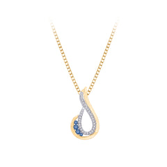 Blue, Black or Brown and White Diamond Fashion Pendant with Chain in 10K Yellow Gold ( 1/5 cttw)