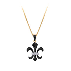"""Fleur-De-Lis"" Black and White Diamond Pendant with Chain in 10K Yellow Gold (1/4 cttw)"