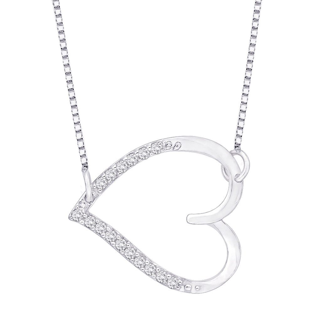 Diamond Sideways Heart Pendant with Chain in Sterling Silver (1/20 cttw)