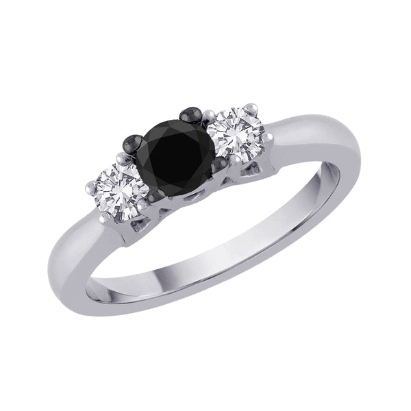 Three Stone Diamond Engagement Ring with Black Center Diamond in 14K White Gold (1/4 cttw)