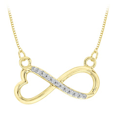 Heart Shaped Infinity Diamond Pendant with Chain in 14K Yellow Gold (1/20 cttw)