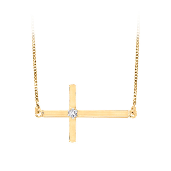 Diamond Accent Cross Pendant with Chain in 10K Yellow Gold