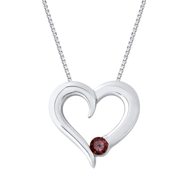 Garnet Heart Pendant with Chain in Sterling Silver (1/6 cttw)