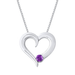 Amethyst Heart Pendant with Chain in Sterling Silver (1/6 cttw)