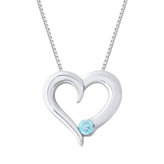 Aquamarine Heart Pendant with Chain in Sterling Silver (1/6 cttw)