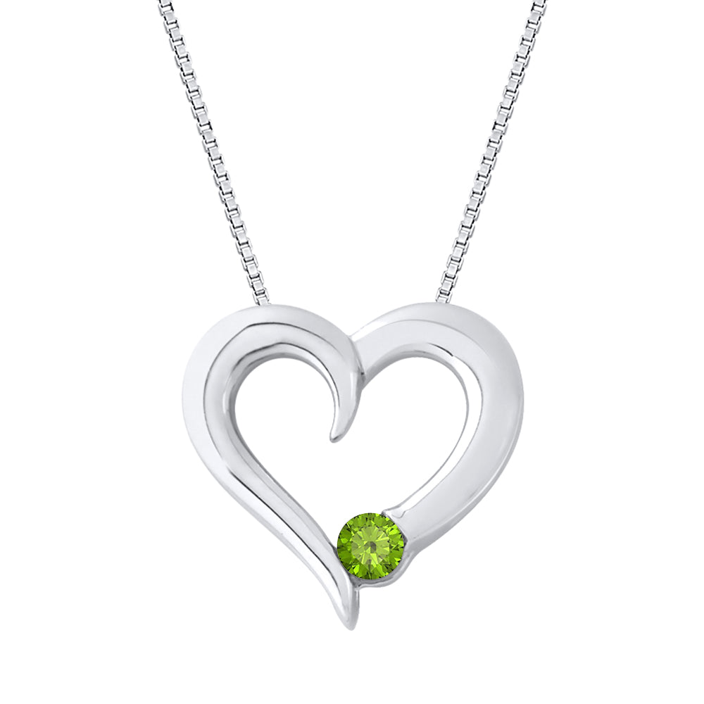 Peridot Heart Pendant with Chain in Sterling Silver (1/10 cttw)