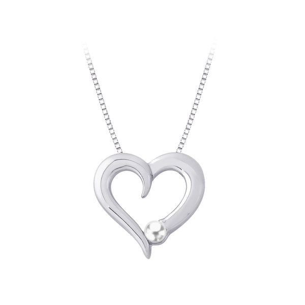 Cultured Pearl Heart Pendant with Chain in Sterling Silver