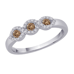 Brown and White Diamond Fashion Ring in 14K White Gold (1/3 cttw)