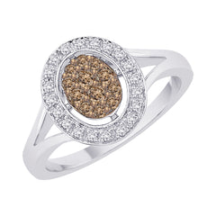 Brown and White Diamond Fashion Ring in 10K White Gold (1/3 cttw)