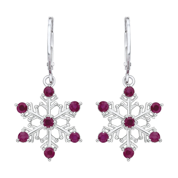 "Ruby ""Snow Flake"" Dangle Earrings in Sterling Silver (1 1/5 cttw)"