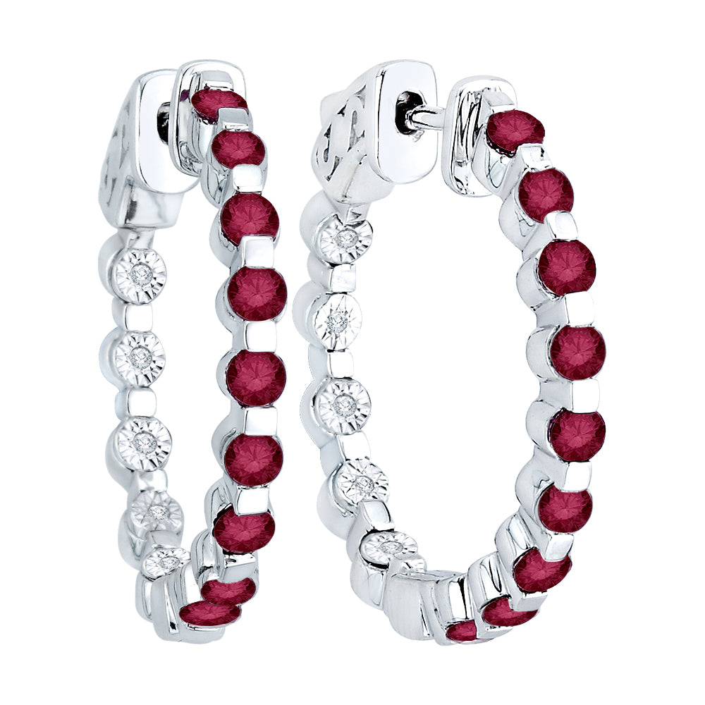 "Diamond 1/20 ct. and Ruby 1 5/8 ct ""In and Out"" Hoop Earrings in Sterling Silver"