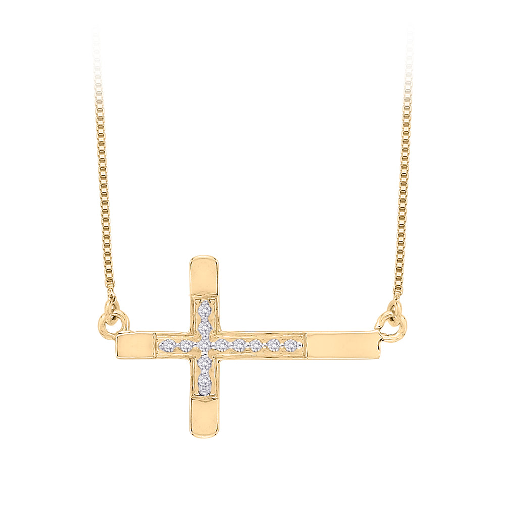 Diamond Sideways Cross Pendant with Chain in 10K Yellow Gold (1/20 cttw)