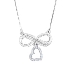 Diamond Infinity Heart Pendant with Chain in 10K White Gold (1/5 cttw)