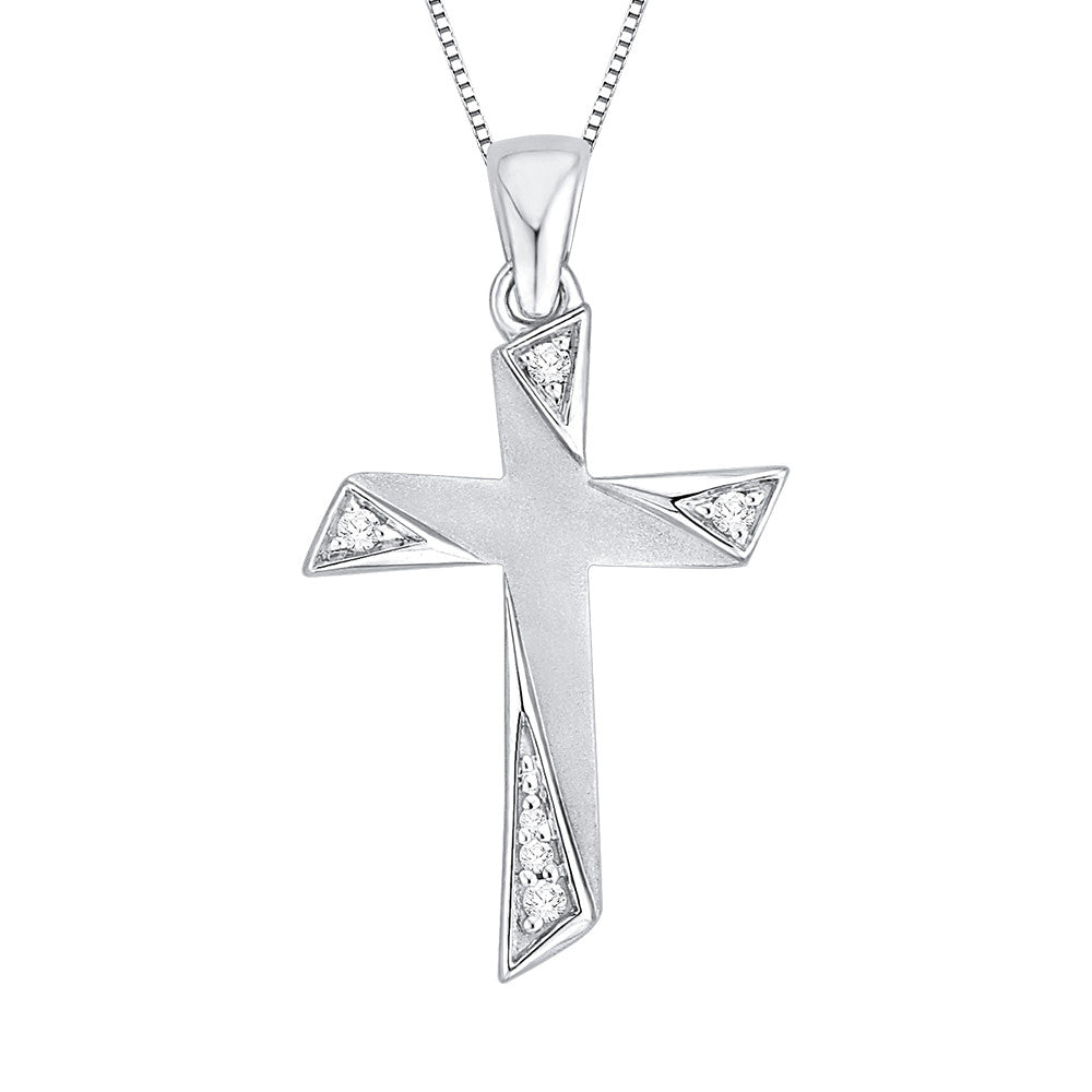 Diamond Cross Pendant with Chain in 10K White Gold (1/20 cttw)