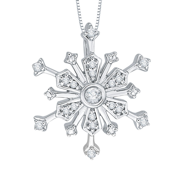 "Diamond ""Snow Flake"" Pendant with Chain in 10K White Gold (1/10 cttw)"