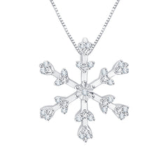 "Diamond ""Snow Flake"" Pendant with Chain in 10K White Gold (1/20 cttw)"