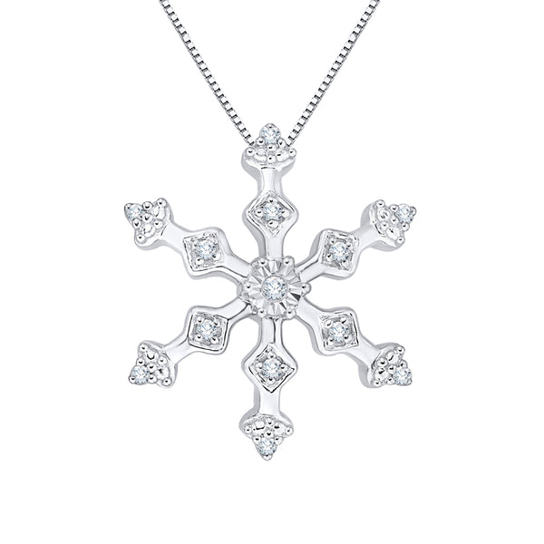 "Diamond ""Snow Flake"" Pendant with Chain in 10K White Gold (1/5 cttw)"