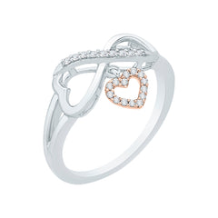 Heart and Infinity Diamond Ring in 10K Two Tone Gold (1/10 cttw)