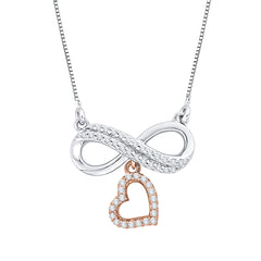 Diamond Infinity Heart Pendant with Chain in 10K Two Tone Gold (1/5 cttw)