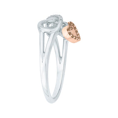 Brown and White Diamond Heart and Infinity Ring in 10K Two Tone Gold (1/10 cttw)