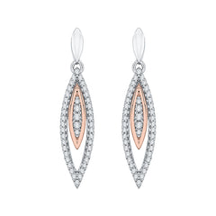 Diamond Fashion Earrings in 10K Two Tone Gold (1/4 cttw)