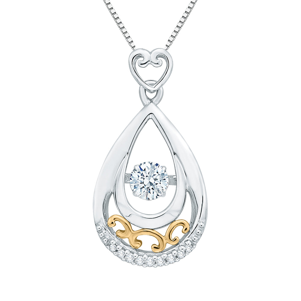 Diamond Fashion Pendant with Chain in 10K Two Tone Gold (1/3 cttw)