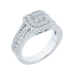 Round and Princess Cut Diamond Engagement Ring in 14K White Gold (7/8 cttw)