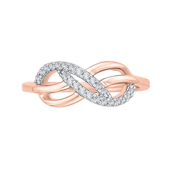 Infinity Diamond Ring in 10K Pink Gold (1/5 cttw)
