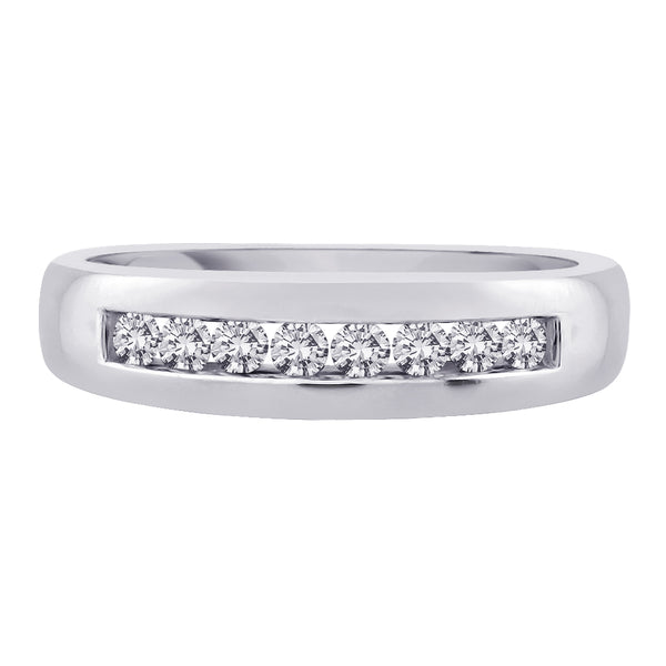 Diamond Men's Wedding Band in 14K White Gold (1/2 cttw)