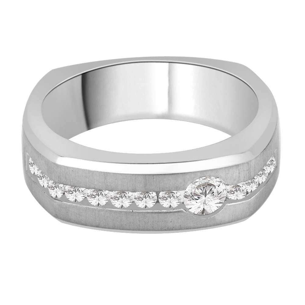 Diamond Men's Wedding Band in14K White Gold (3/8 cttw)