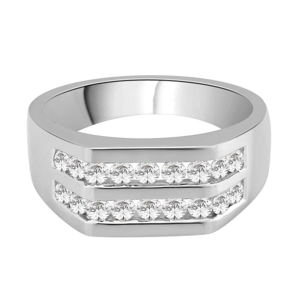 Diamond Men's Wedding Band in 14K White Gold (1 cttw)