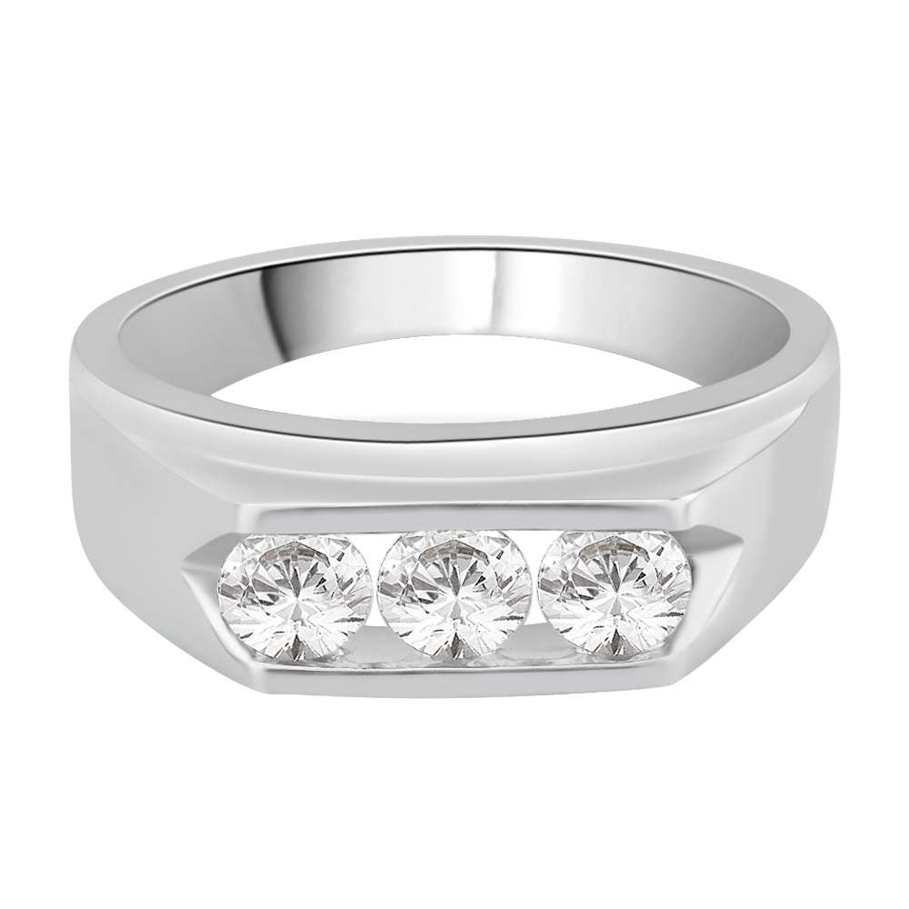 3 Diamond Men's Ring Channel Set in 14K White Gold (1 cttw)