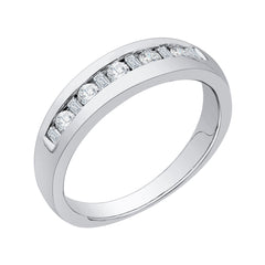Round and Baguette Cut Diamond Men's Wedding Band in 14K White Gold (1/2 cttw)