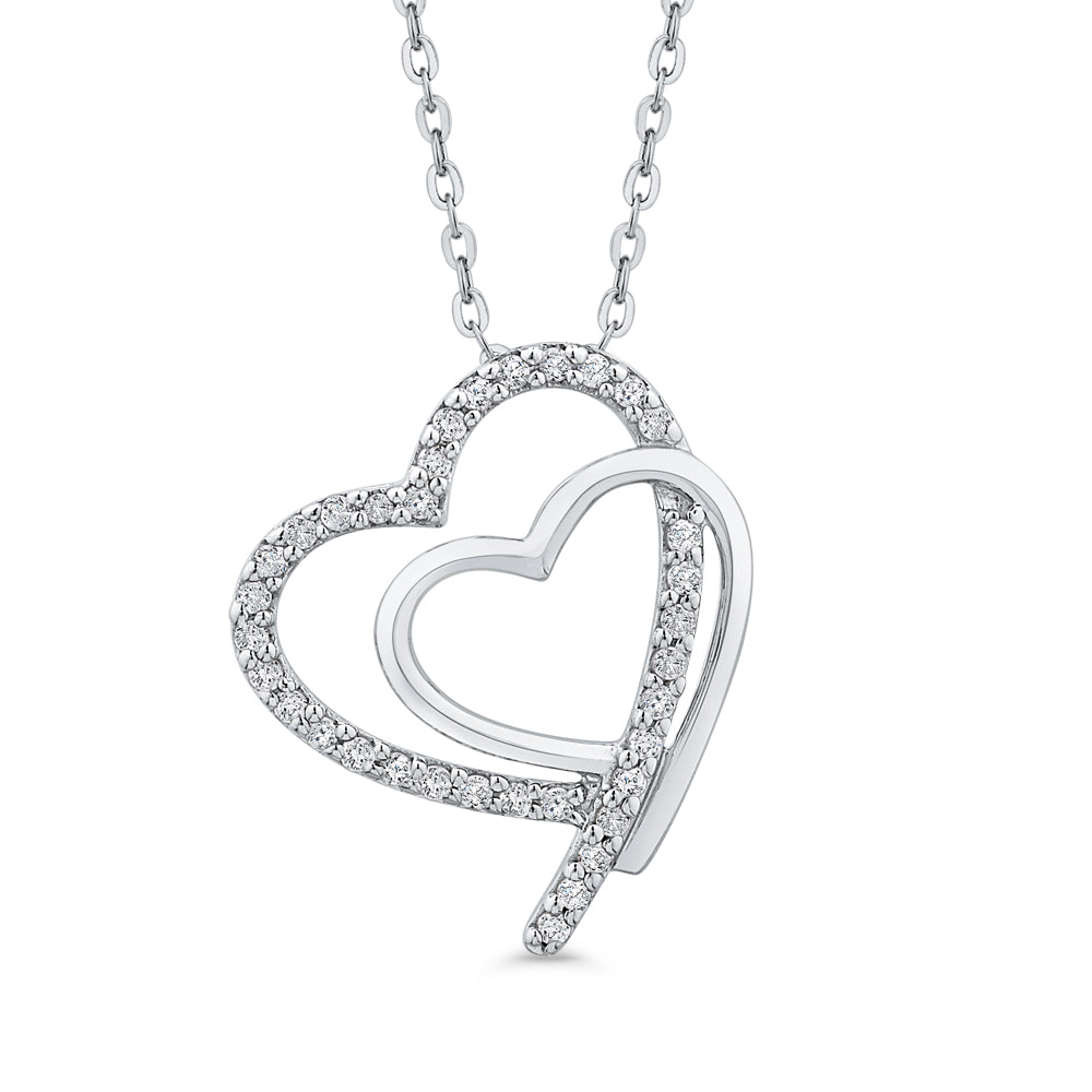 1//6 cttw, G-H, I2-I3 KATARINA Channel Set Diamond Heart Pendant Necklace in Gold or Silver