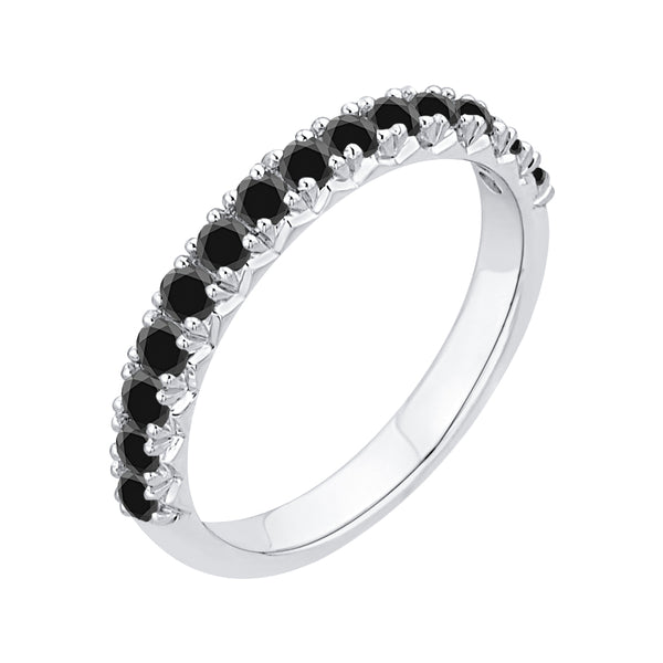KATARINA Black Diamond Wedding Band in 14K White Gold (1 cttw)