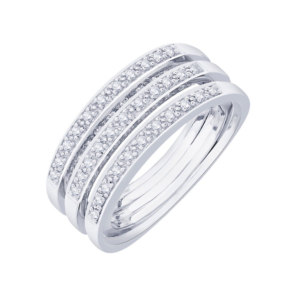 Diamond Anniversary Ring in Sterling Silver  1/2 cttw)
