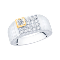 Round and Princess Cut Diamond Men's Anniversary Ring in 10K Gold (1/2 cttw)