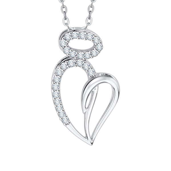 Diamond Heart Pendant Necklace in Gold or Silver (1/6 cttw, G-H, I2-I3)