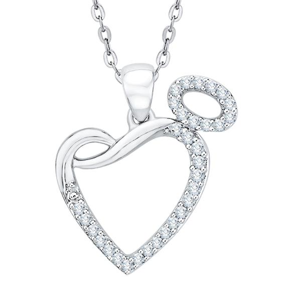 Diamond Open Heart Pendant Necklace in Gold or Silver (1/6 cttw, G-H, I2-I3)
