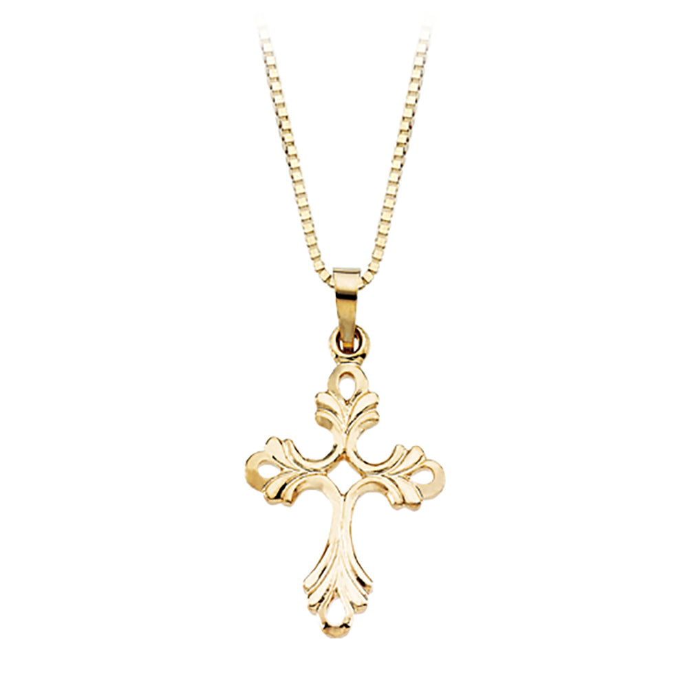 14K Yellow Gold 19.50 x 15 MM Cross Pendant Necklace with Chain