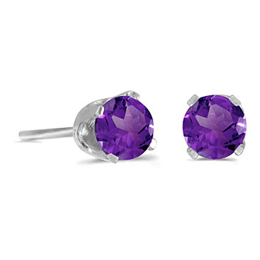 Prong Set 4 MM Natural Amethyst Earring Studs in 14K White Gold