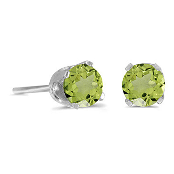 Prong Set 4 MM Natural Peridot Earring Studs in 14K White Gold
